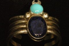 Turquoise Lapis Spider Woman Cuff Bracelet A