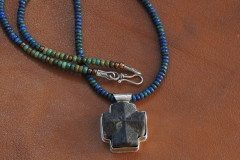 Staurolite on Lapis Malachite Copper Beads 072614