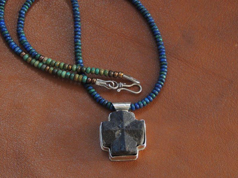 Staurolite on Lapis Malachite Copper Beads 072614