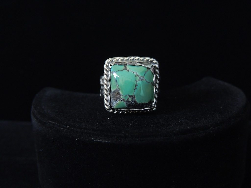 Square Green Turquoise Ring Top View Resized