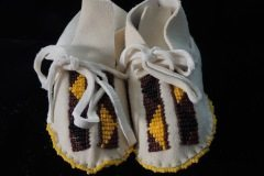 White Baby Moccasins Maroon Gold Black Beads