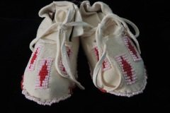 White Baby Moccasins Pink Red Beads