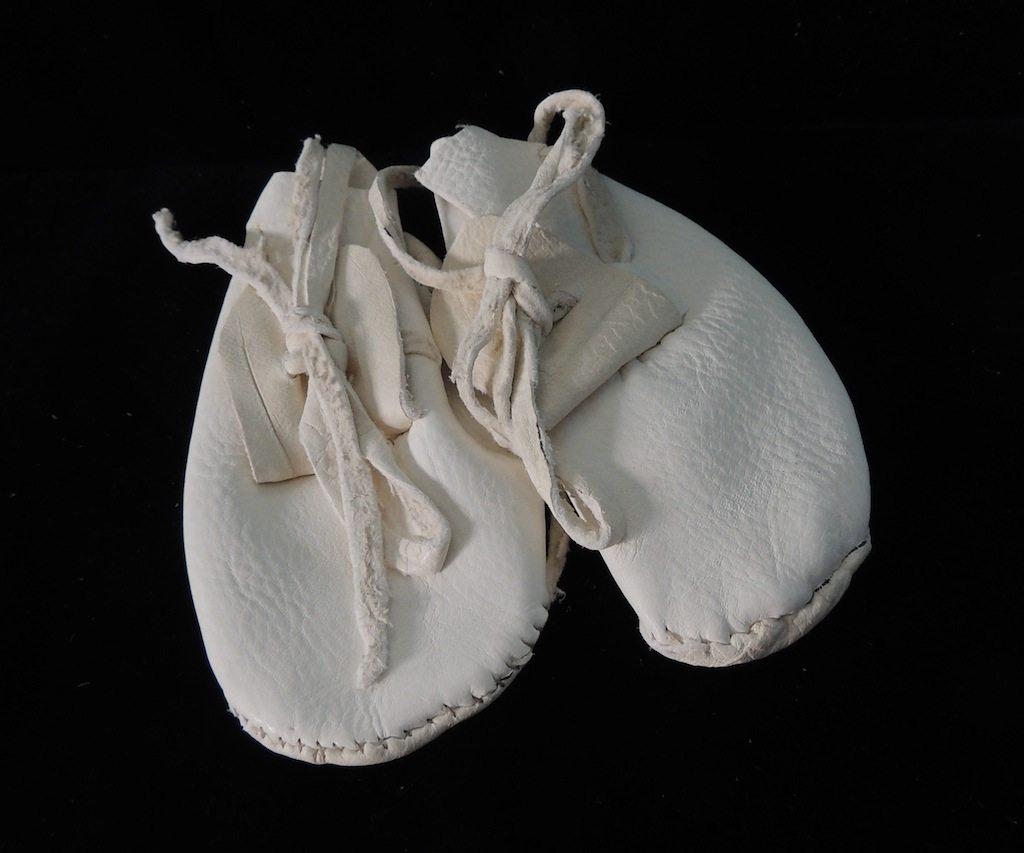 White Buckskin Baby Moccasins