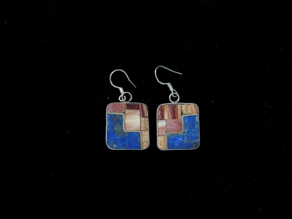 Lapis Spiny Oyster Inlay Earrings Resized
