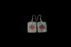 Serpentine Coral Inlay Earrings Resized