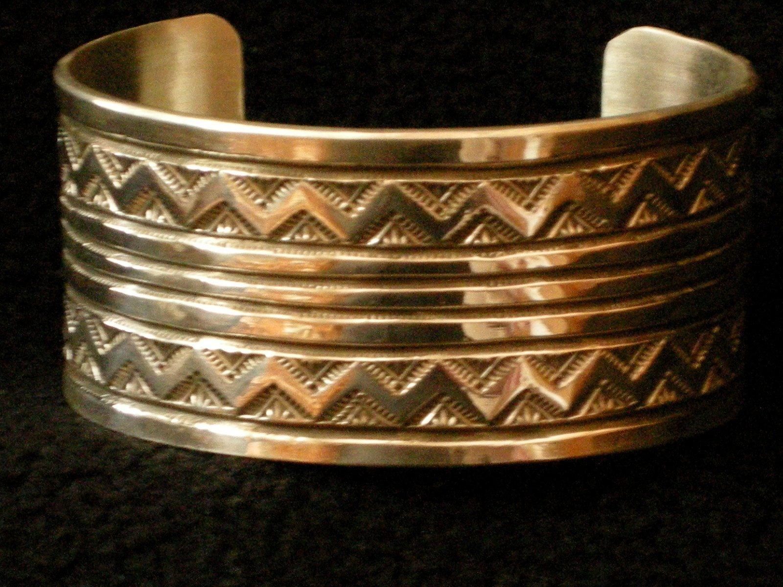 Wide Lightning Pattern Cuff Bracelet B 2