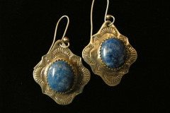 Denim Lapis Diamond Shaped Earrings