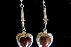 Red Agate Heart Earrings With Copper Beads Resized
