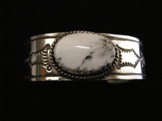 White Buffalo Turquoise Cuff Bracelet B