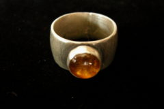 Small Round Amber Solitaire Ring