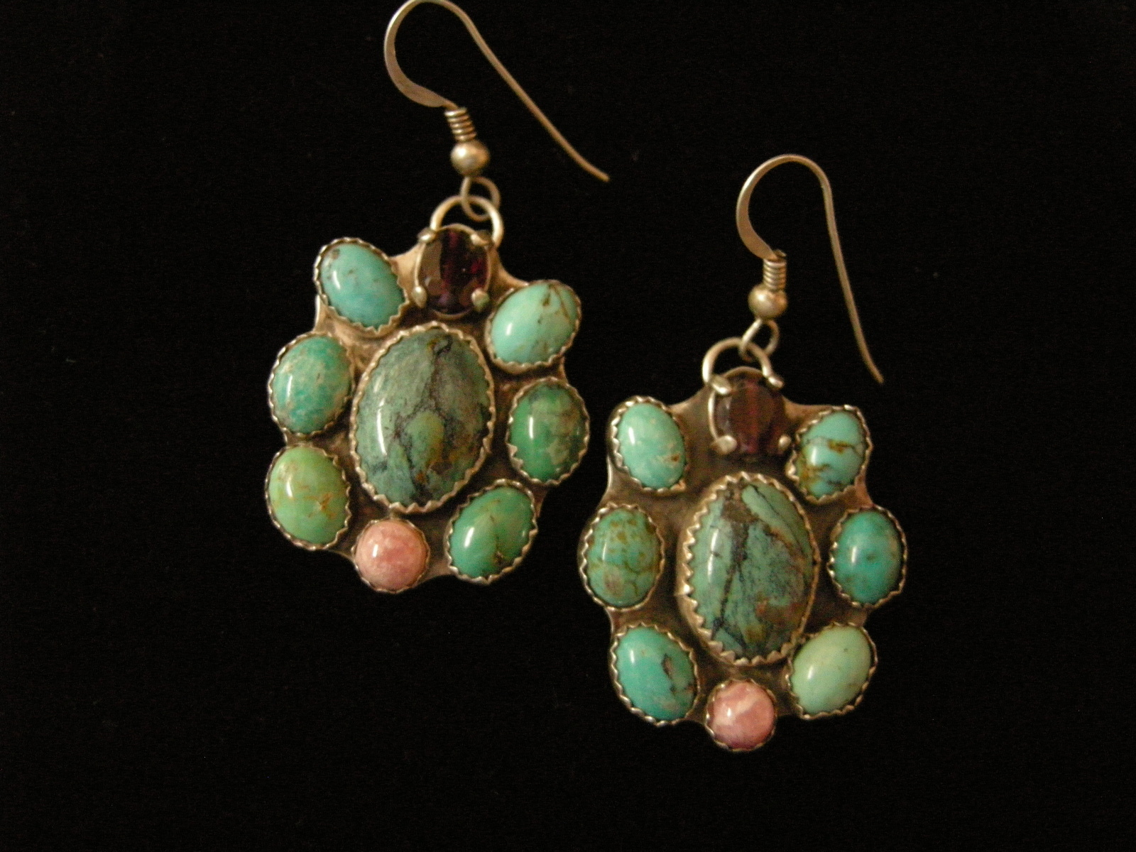 Nine Stone Turquoise Garnet Rose Quartz Earrings B
