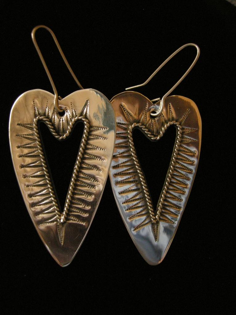 Silver Teardrop Heart Earrings Resized